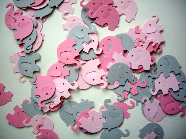 100 elephant punches paper elephants pink by JDooreCreations, $2.50