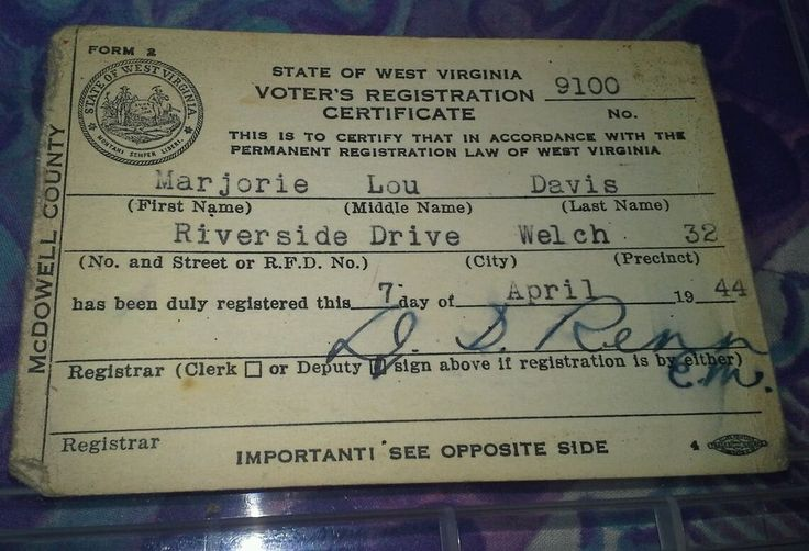 Vintage WWII State of West Virginia Voter's Registration Certificate McDowell