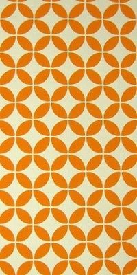 Embossed Vintage Original Orange Abstract Wallpaper 60s 70s Fab Geometric