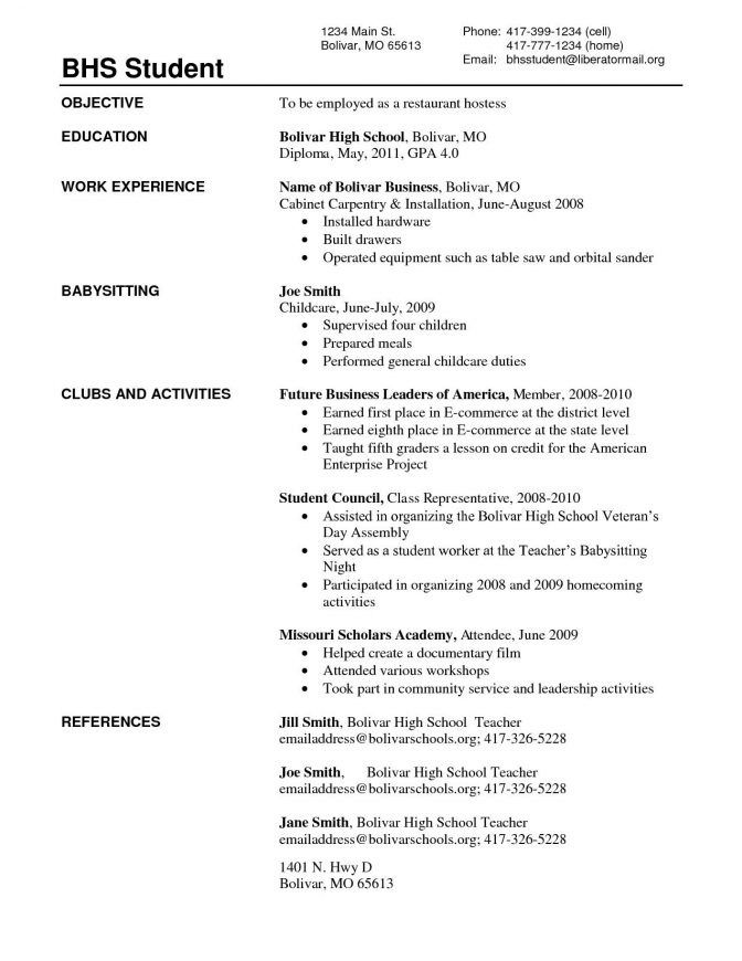 Great Student Cv Template No Experience Pictures High School