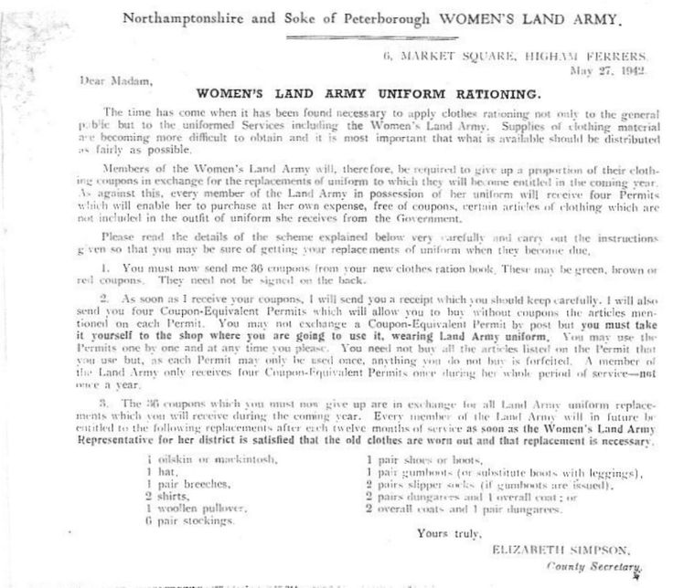 Women's Land Army-Uniform Rationing.