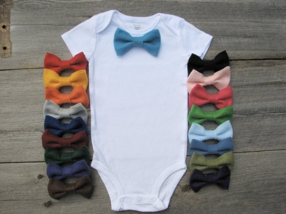 Oh this is so me...Little man onesie idea-- make different color bow ties and attach with a snap. Babies!
