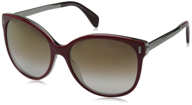 Marc by Marc Jacobs Women's MMJ464S Oval Sunglasses, Burgundy Ruthenium & Brown Mirror Gold Shadow, 56 mm