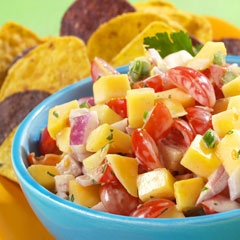 Creamy Mango Salsa- Light Mayo, lime juice, cumin, cherry tomatoes, mango, red onion, jalapeno pepper, cilantro... sounds interesting, gotta give it a try!