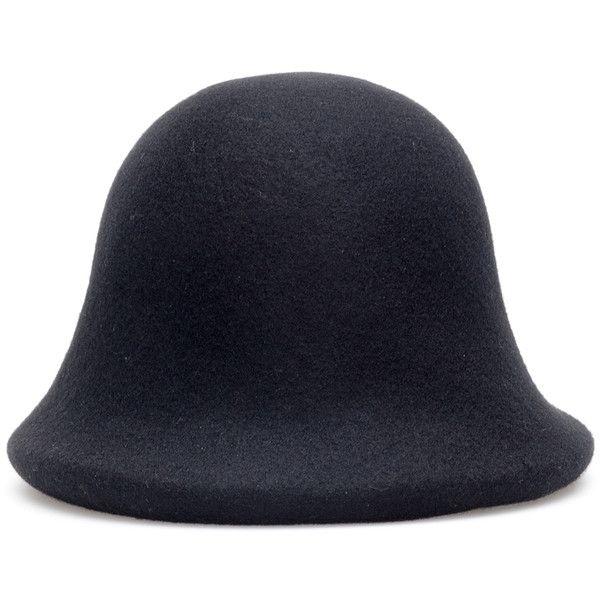 Yohji Yamamoto Wool Cloche Hat ($635) ❤ liked on Polyvore featuring accessories, hats, yohji yamamoto hat, cloche hat, yohji yamamoto, wool hat and woolen hat