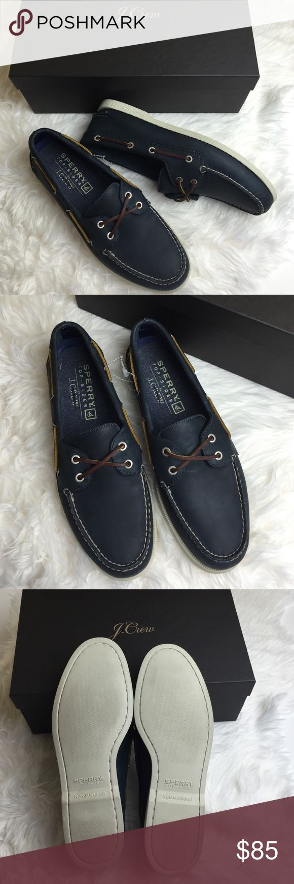 NWT sperry for j.crew mens classic boat shoes Comes with Jcrew box,tag crossed to prevent return  original boat shoes are back and better than ever,custom-colored each pair and partially lined them in our famous cotton chambray for one-of-a-kind shoes that are only available at J.Crew. These feature nonskid treads and top-quality leather with a perfectly worn-in finish. White contrast hand stitching. Rust-proof nickel eyelets with Sperry logo. Exclusive off-white rubber sole with grosgrain…