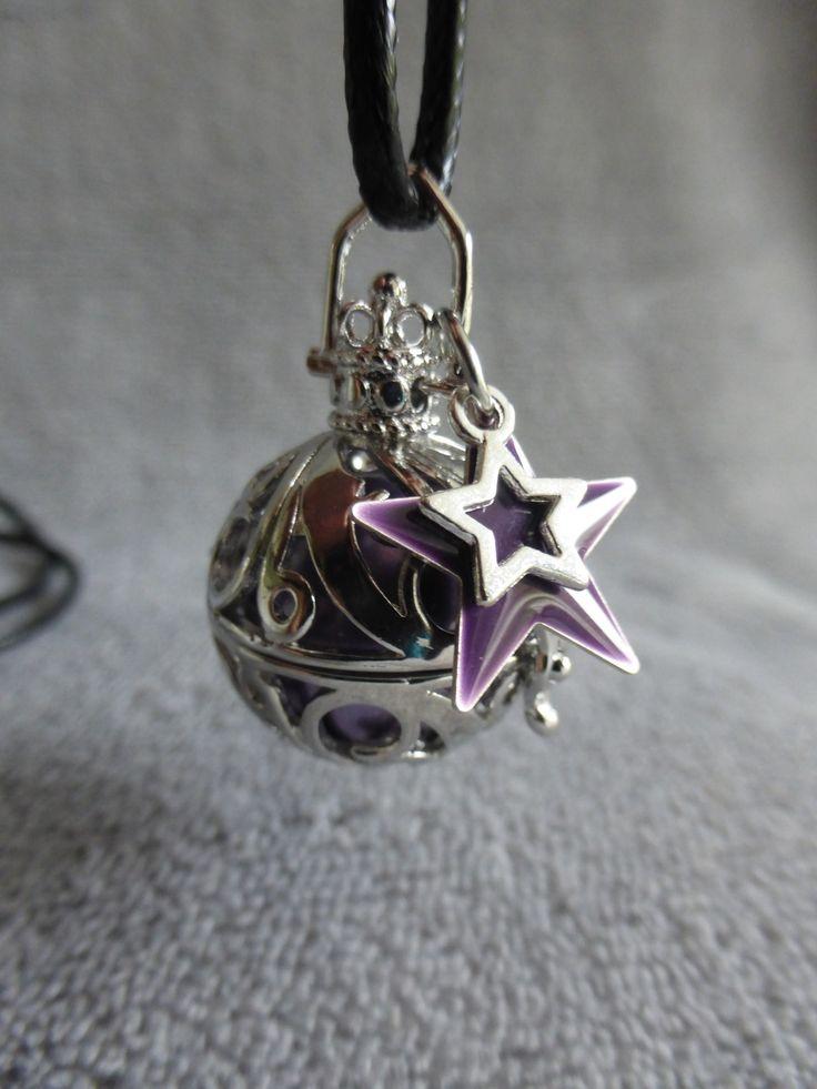 Bola de grossesse avec motif de vague, avec une bille mauve irisé et une étoile, en sautoir : Maman par bola-de-grossesse