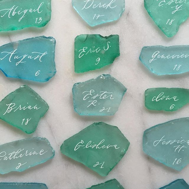 """don't you love these sea glass escort cards we created for a beautiful beach-inspired wedding with @amyosabaevents?? we love when we're given the freedom to think outside of the traditional paper sphere and think about more textural options!"" Photo taken by @brownlinendesign on Instagram, pinned via the InstaPin iOS App! http://www.instapinapp.com (09/02/2015)"
