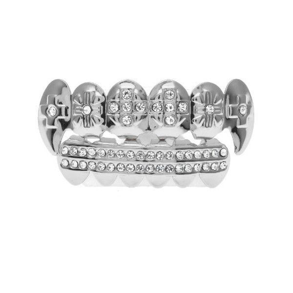 Hip-Hop Iced Out Grillz with CZ Diamonds - Top and Bottom Set ($14) ❤ liked on Polyvore featuring jewelry, cz jewellery, unisex jewelry, cz jewelry, cubic zirconia jewelry and diamond jewellery