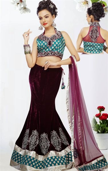 Picture of Indian Ethnic Designer Wine Color Lehenga Choli Online