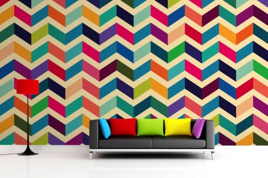 Multicoloured Zig Zag Pattern Wallpaper Wall Mural | MuralsWallpaper.co.uk