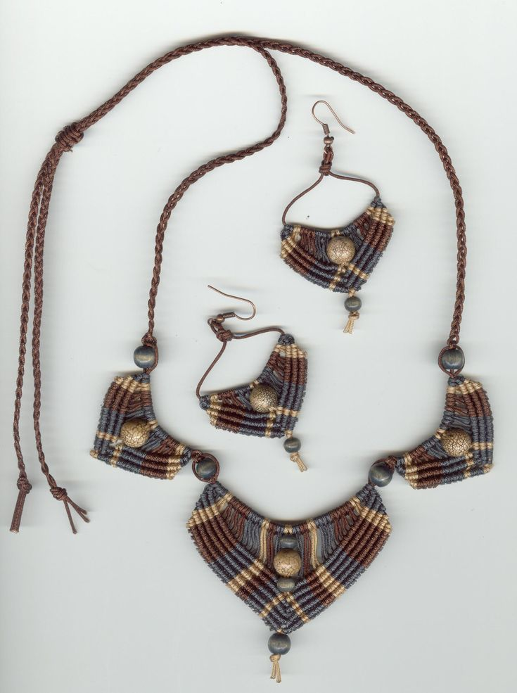 Earthtoned Brown and Blue Grey Micromacrame Necklace Set by MonkeyBiznessJewelry on Etsy