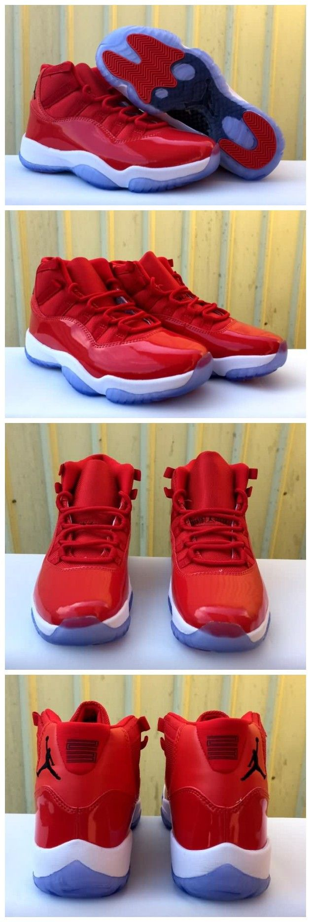 Cheap Air Jordan 11 Retro High All Red White Unisex shoes Free Shipping