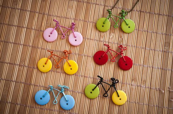 Necklace with wire & buttons bicycle, handmade bike, colorful, personalized colors