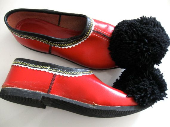 Vintage Red Leather Slippers Shoes Pom Pom by ErmaJewelsVintage
