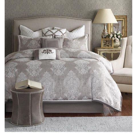 courtney grey damask comforter set damask bedroombedroom decormaster. Interior Design Ideas. Home Design Ideas