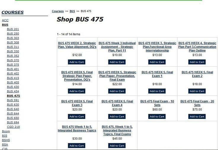 BUS 475 Final Exam - 20 Sets