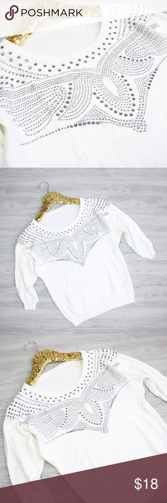 White Rhinestones Embellished Light Sweater - Size: Small - 40% Viscose, 30% Cotton, 20% Wool, 5% Alpaca, 5% Cashmere - Excellent Condition. - No trades, thank you! - Pet and Smoke-Free Home  - Same or Next day Shipping - All items are from my own closet.  MEASUREMENTS: Bust: 33 inches Length: 21.5 inches Sleeve Length: 12 inches Akiabara Sweaters Crew & Scoop Necks