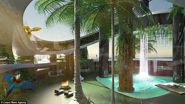 Forget the mega yacht - tomorrow's billionaires can buy a portable ISLAND: Incredible floating home comes with helipad, 80metre high penthouse suite... and its own WATERFALL. Picturesque:With a 80 metre high penthouse suite and its own waterfalls, the movable island offers its owner far more than a superyacht