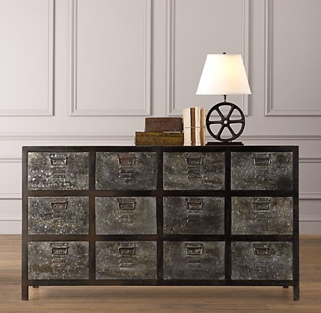 Vintage inspired/locker dresser.  Industrial.  Via Restoration Hardware.  LOVE!