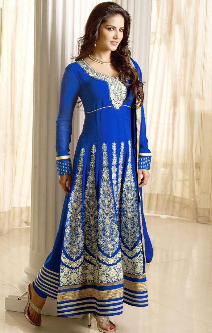 #Blue Faux Georgette Churidar #Anarkali #Suit