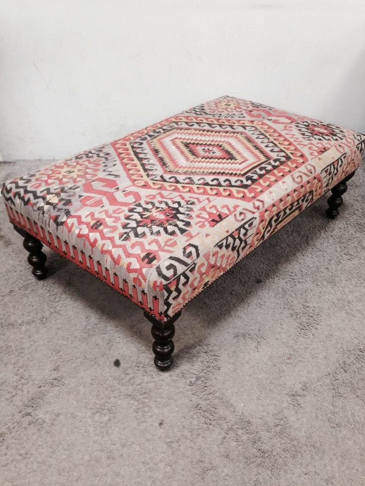 George Smith Boho Chic Kilim Ottoman on Chairish.com