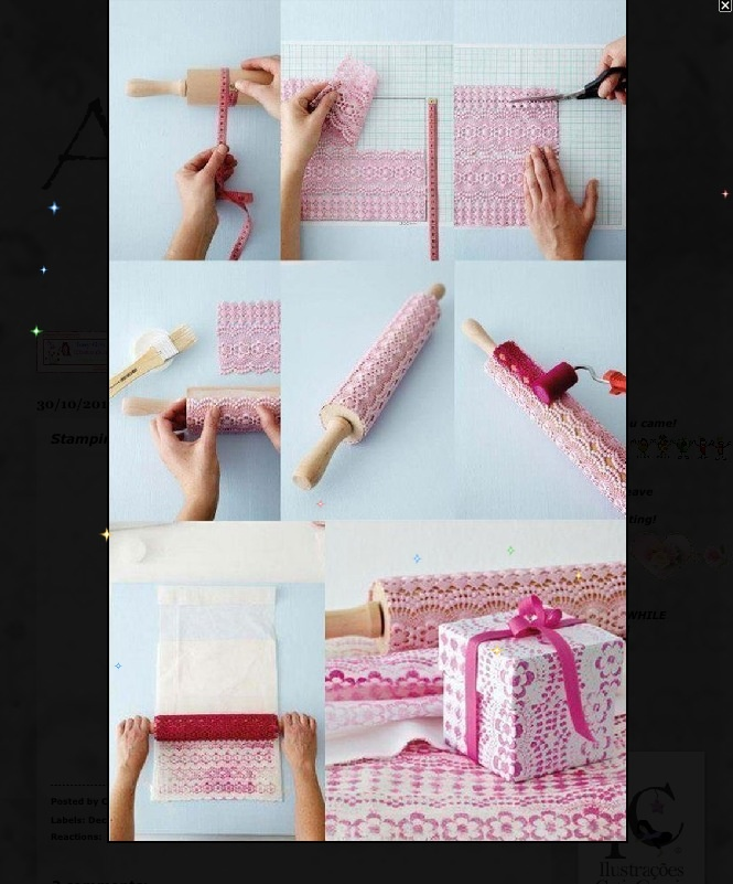 * DIY LACE WRAPPING PAPER ~ pictorial only