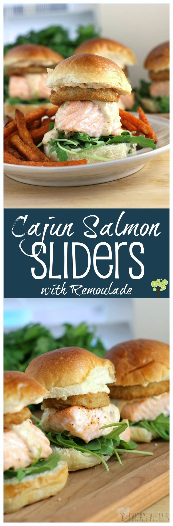 Cajun Salmon Sliders with Remoulade from EricasRecipes.com. #SpringIntoFlavor #ad
