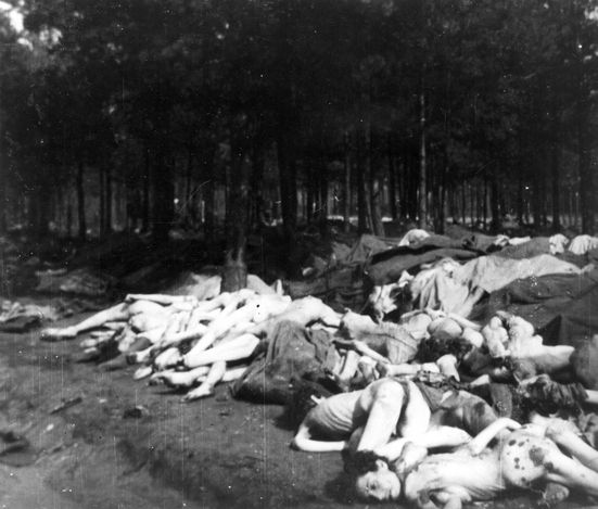 Bergen Belsen, Germany, Corpses of inmates, April 1945. They sadly almost survived the death camp but were murdered a day or 2 before liberation