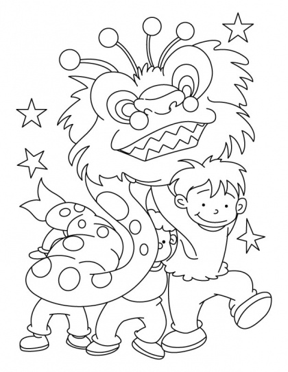 Dragon dance party for welcome of New Year | Download Free Dragon dance party for welcome of New Year for kids | Best Coloring Pages