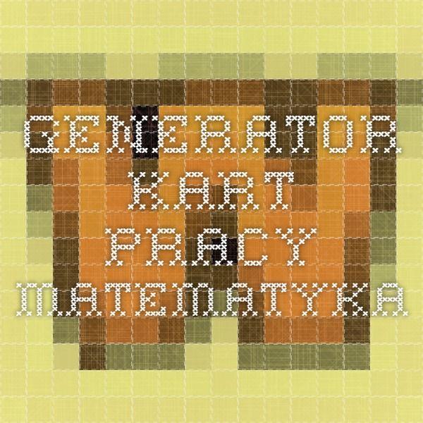 generator kart pracy - matematyka