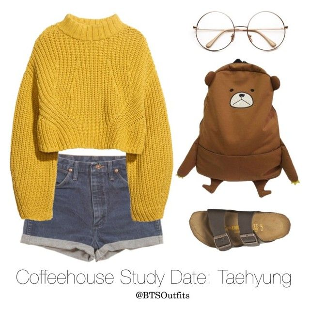 """""""Coffeehouse Study Date: Taehyung"""" by btsoutfits ❤ liked on Polyvore featuring Wrangler, H&M and Birkenstock"""