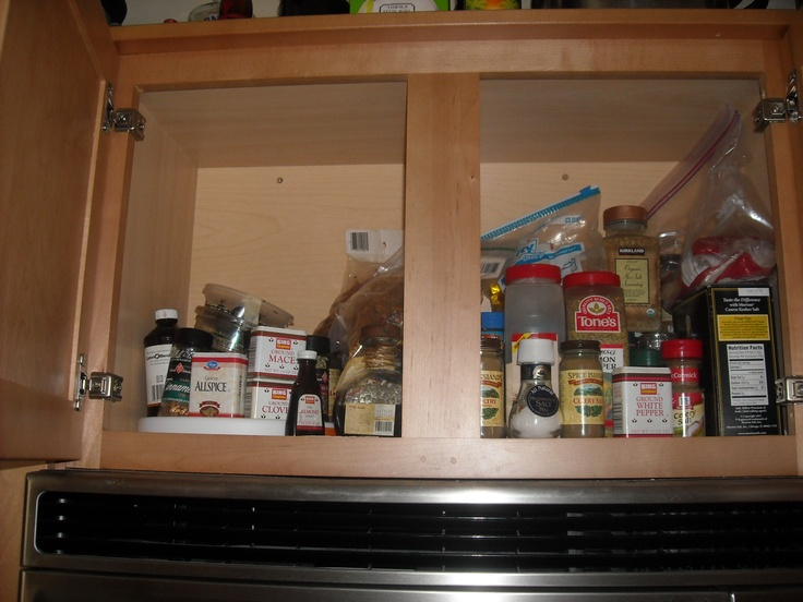 Salts and peppers on the right, and baking spices on the left. Some spare cabinet space that I will need to address.