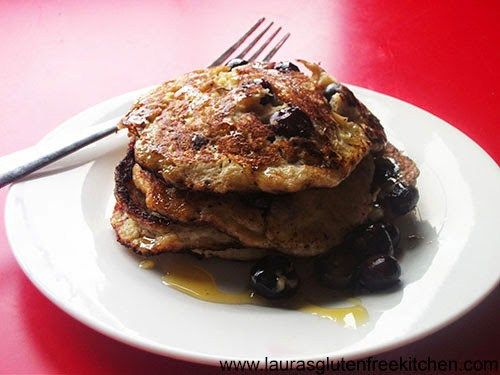 Gluten free Banana & Blueberry Pancakes --- They taste great. Bananas and blueberries go so well together.  I cant wait to experiment with these by changing the blueberries to chocolate chips or maybe even different fruit like strawberries, yum.