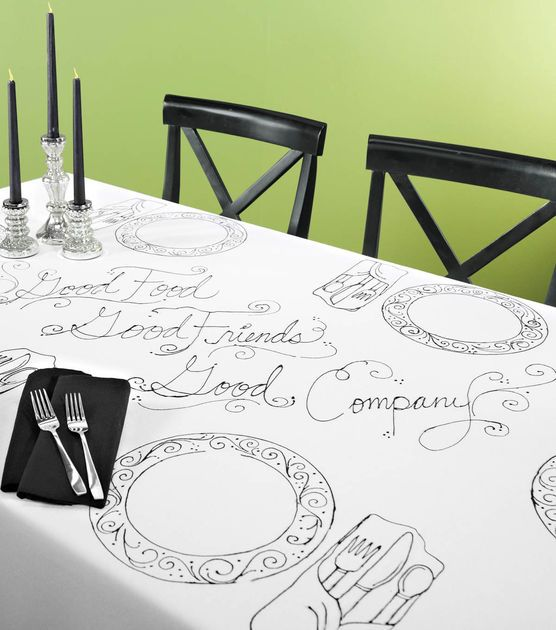 Cute idea for a dinner party!  Outline plates and place settings for a unique tablescape!Dining Rooms, Shower Ideas, Crafts Ideas, Tables Sets, Outline Tables, Cute Ideas, Dinner Parties, Crafts Decor, Joanne Com