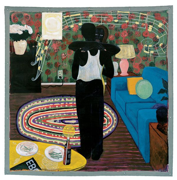 """Kerry James Marshall's Paintings - """"Slow Dance,"""" 1992-93, acrylic and collage on canvas, 75¼ by 74¼ inches. - The New York Times"""