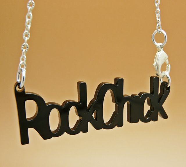 Product description for Rock Chick word Charm necklace