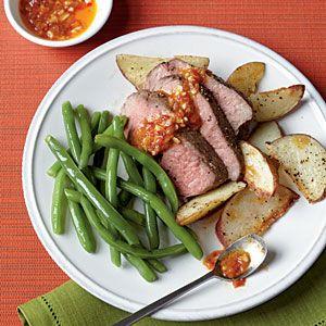 Roast Leg of Lamb with Chile-Garlic Sauce | 265 calories