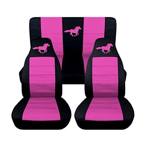 """2 Black and Hot Pink """"Mustang"""" seat covers for a 2012 Ford Mustang. Side airbag friendly"""