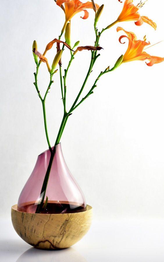 Drewno i szkło. Różowy wazonik i piena miseczka z klonu. Ahorn / Maple #zdrewna #wazon #donitza #toczenie #woodturning #drechseln