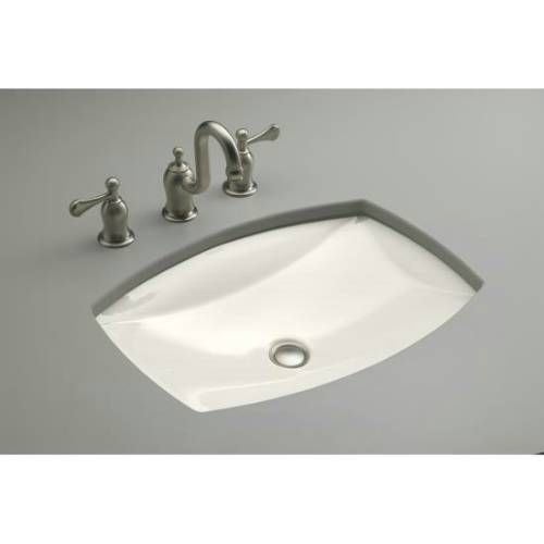 Kohler K 2382 Kelston Vitreous China 19 5 16 Undermount Rectangular Bathroom Sink With Clamp Embly And Overflow Without Faucet Hole