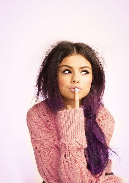 Selena Gomez with a purple ombre