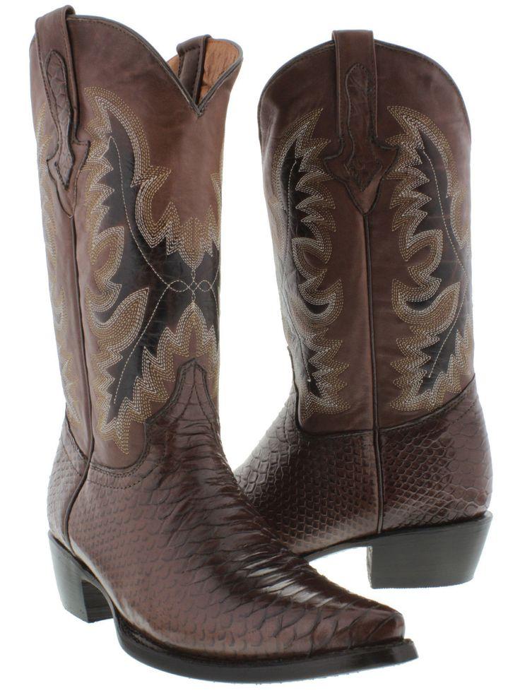 Men's dark brown leather python snake cowboy boots western exotic rodeo biker
