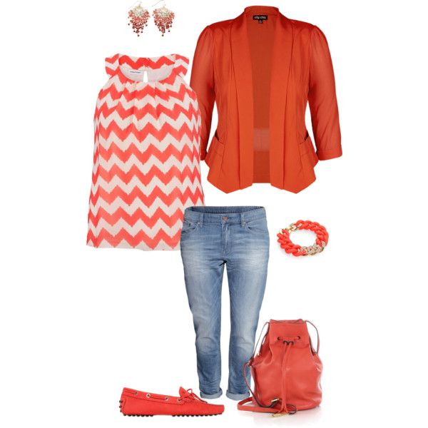 A fashion look from January 2015 featuring womens plus size tank tops, long red jacket and low jeans. Browse and shop related looks.