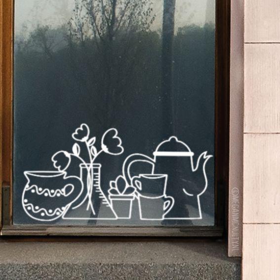 Heb je een saaie vensterbank en/of kun je er niks op zetten? Teken dan deze #raamtekening, geïllustreerd door Megan McNulty. De bloemen blijven altijd mooi.