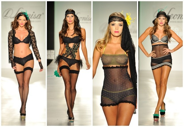 Lenceria negra: sexy y muy atrevida. Fotos: Colombiamoda 2012. Pasarela Leonisa-CarruselLeonisa Carrusel Womensecret, Colombiamoda 2012