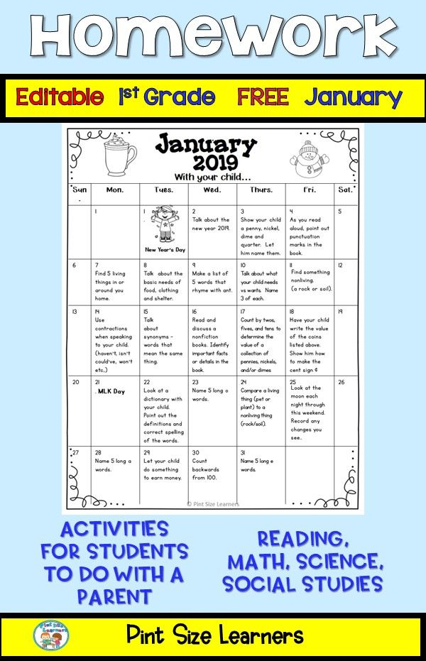 Free Editable January homework calendar for your first grade