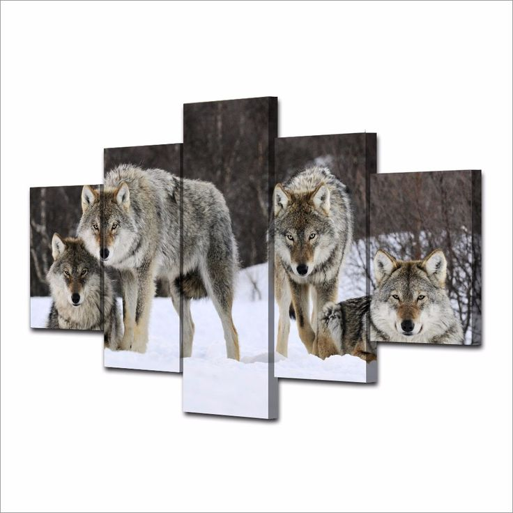 5 Piece Canvas Art Hd Printed Canvas Coloring Painting By Number Print Poster Picture Snow Teen Wolf Painting