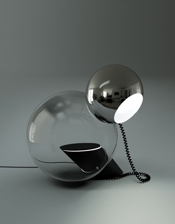 Antonio Macchi Cassia; Glass, Chromed and Enameled Metal 'Gravita' Desk Lamp for Stilnovo, 1969.