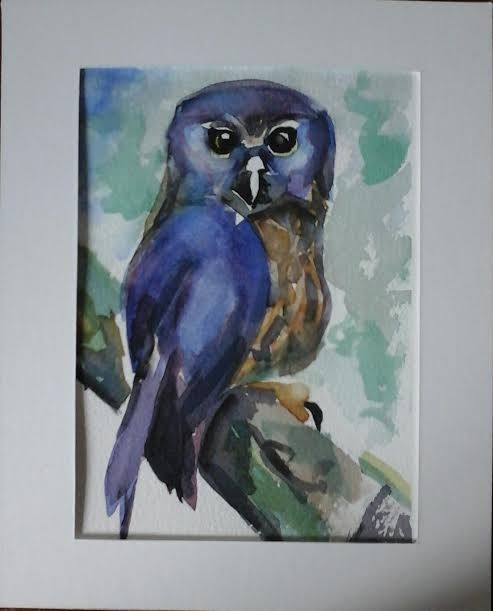 Morepork  original watercolour painting by Vicky by MyCoveArt